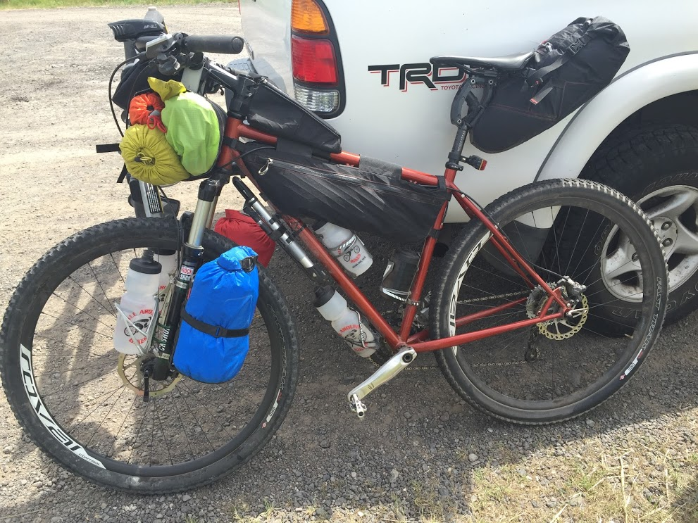 Bike loaded for bike packing trip
