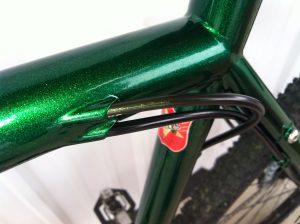 Metallic green with internal cables