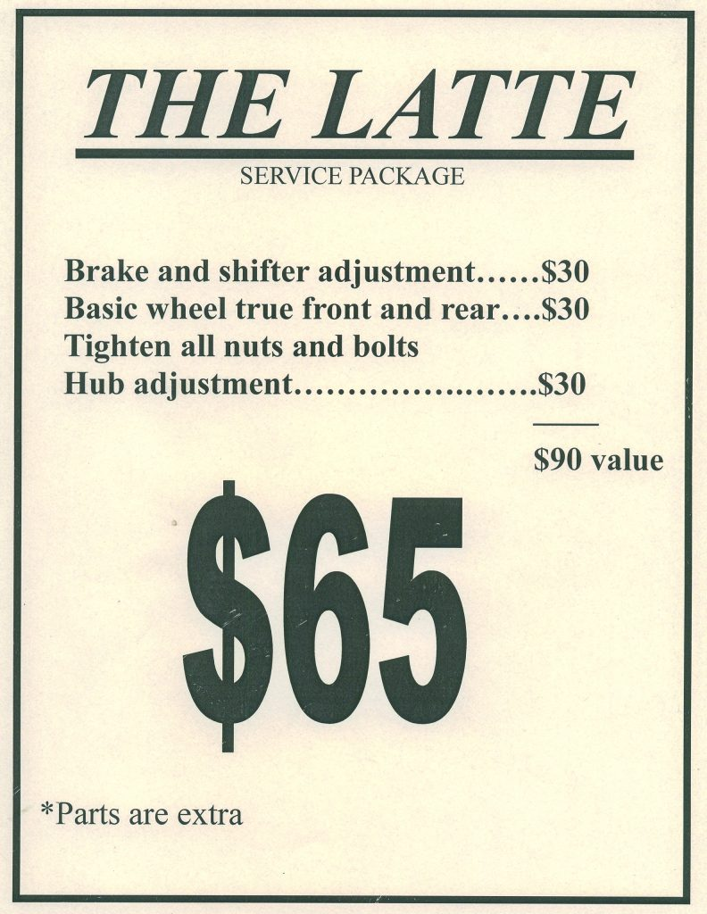 the latte service package for $65